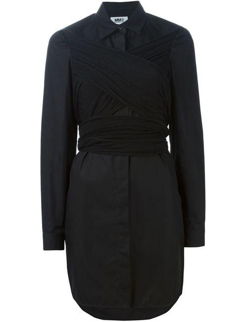 MM6 by Maison Margiela | Женское Чёрное Платье-Рубашка