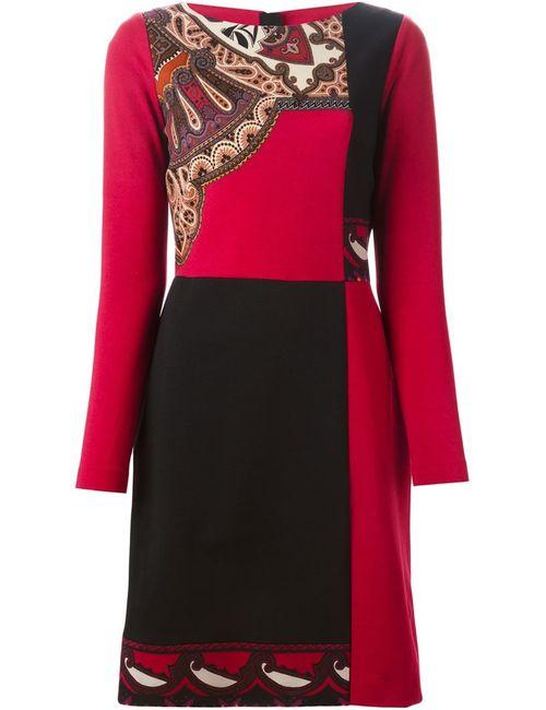 Etro | Женское Красное Платье С Панельным Дизайном