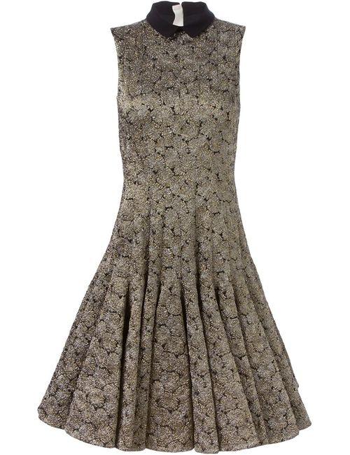 Rochas | Женское Чёрное Расклешенное Жаккардовое Платье