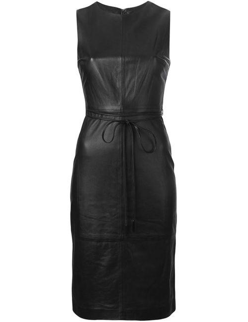 Vince | Женское Чёрное Приталенное Платье Без Рукавов
