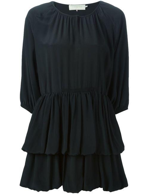 L' Autre Chose | Женское Чёрное Расклешенное Платье Мини С Оборками