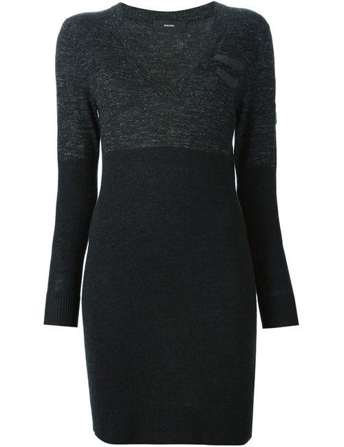 Diesel | Женское Чёрное Облегающее Платье-Свитер