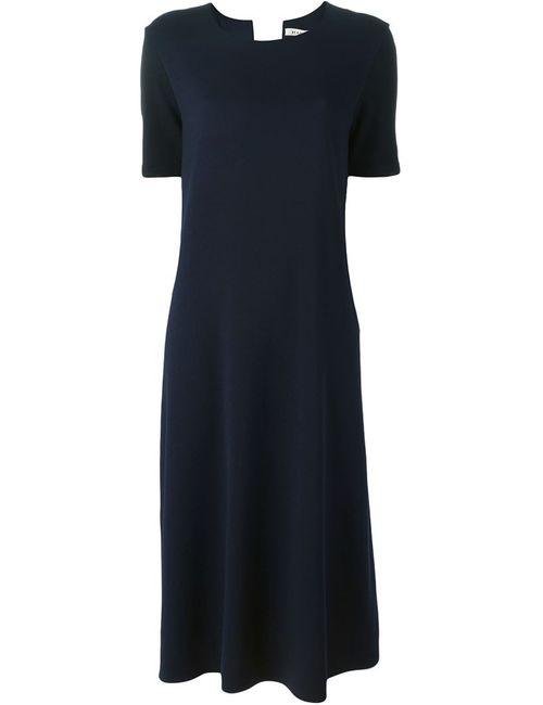 Hache | Женское Синее Свободное Платье С Короткими Рукавами