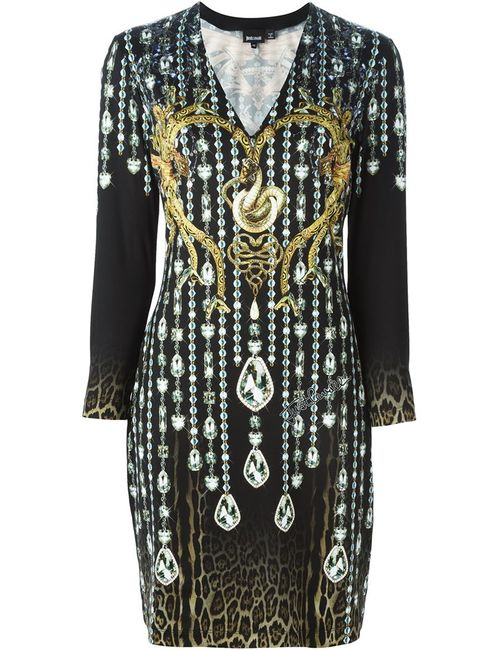 Just Cavalli | Женское Чёрный Crystal And Snakes Print Dress
