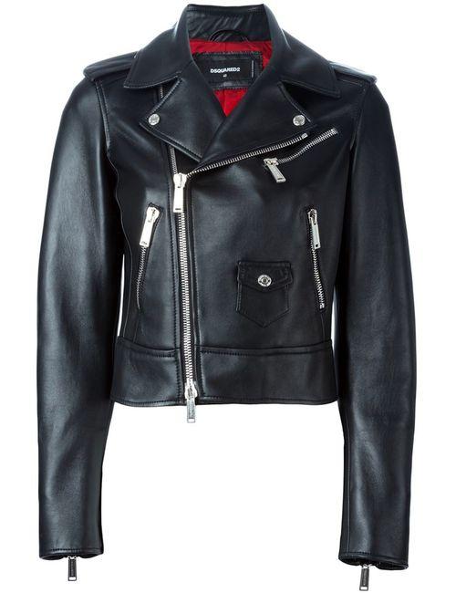Dsquared2   Женская Чёрная Укороченная Байкерская Куртка