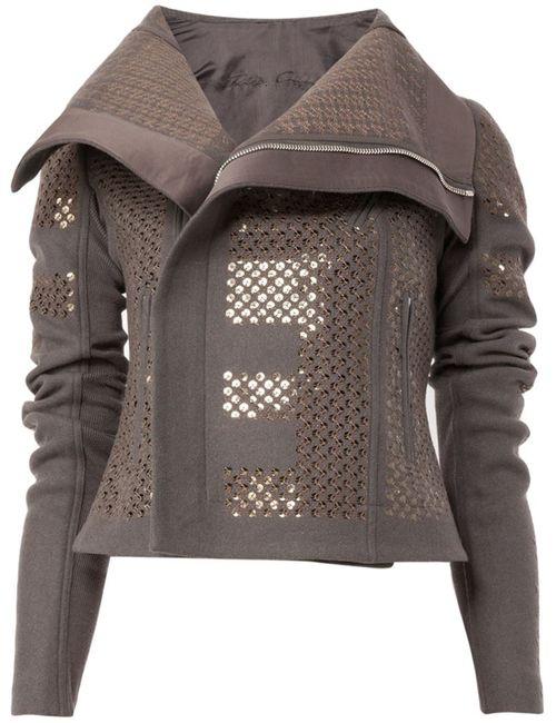 Rick Owens | Женское Зелёный Sequinned Biker Jacket