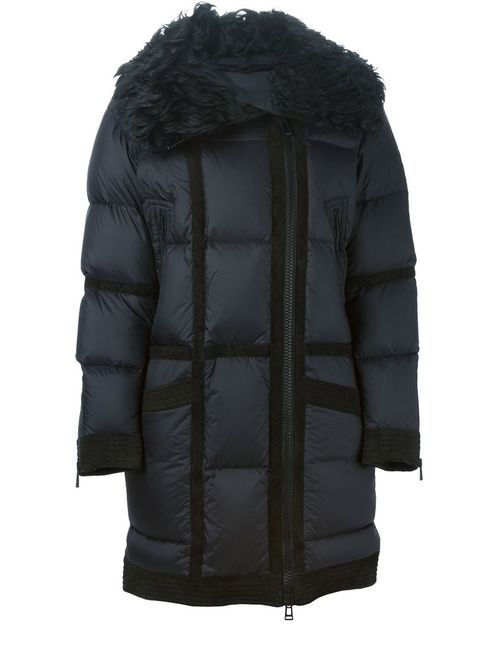 Belstaff | Женская Чёрная Дутая Куртка С Меховым Воротником