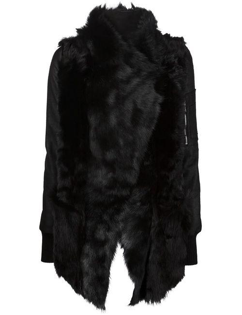 Giorgio Brato | Женская Чёрная Куртка С Контрастными Кожаными Рукавами
