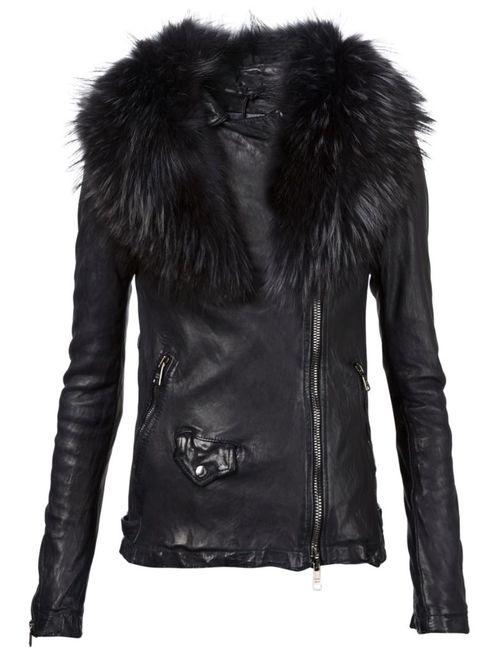 Giorgio Brato | Женская Чёрная Байкерская Куртка С Меховым Воротником