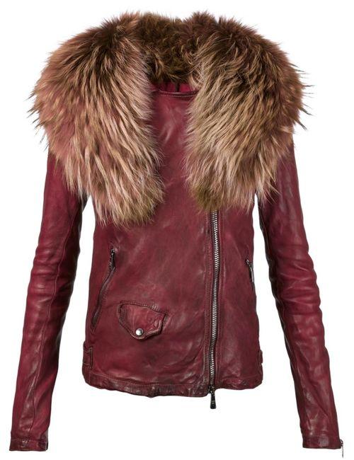 Giorgio Brato | Женская Красная Байкерская Куртка С Меховым Воротником