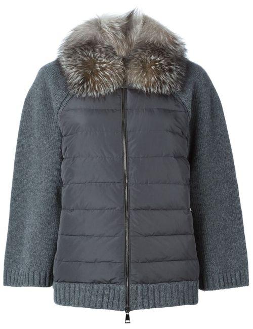 Moncler | Женское Серый Fur Collar Cardigan
