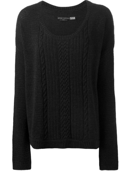 Alice + Olivia | Женское Чёрный Cable Knit Detail Sweater