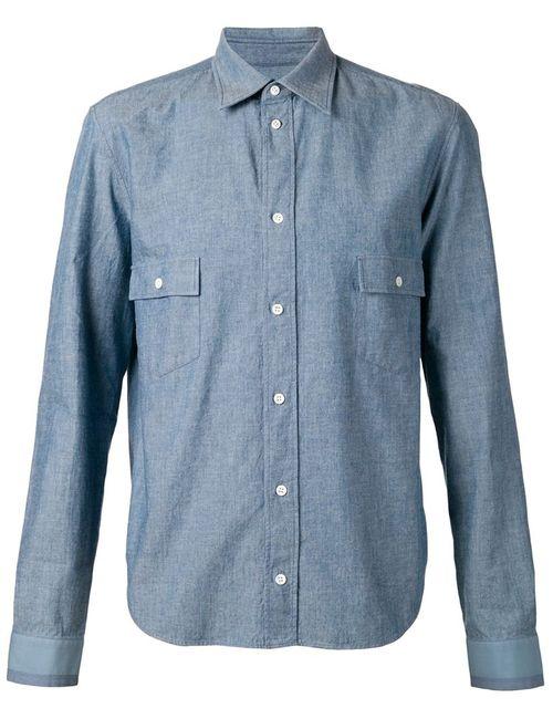 Maison Margiela   Мужская Синяя Классическая Рубашка Шамбре