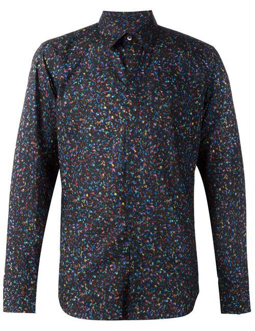 Calvin Klein Collection | Мужская Чёрная Рубашка С Пестрым Принтом