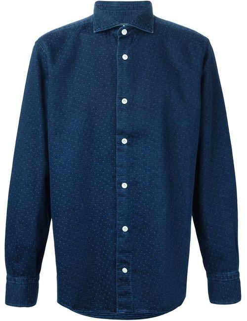 Eleventy | Мужская Синяя Рубашка С Мелким Узором В Горох