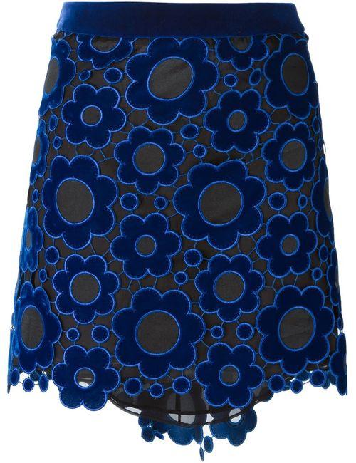 Christopher Kane | Женская Синяя Многослойная Юбка Из Цветочного Кружева Макраме