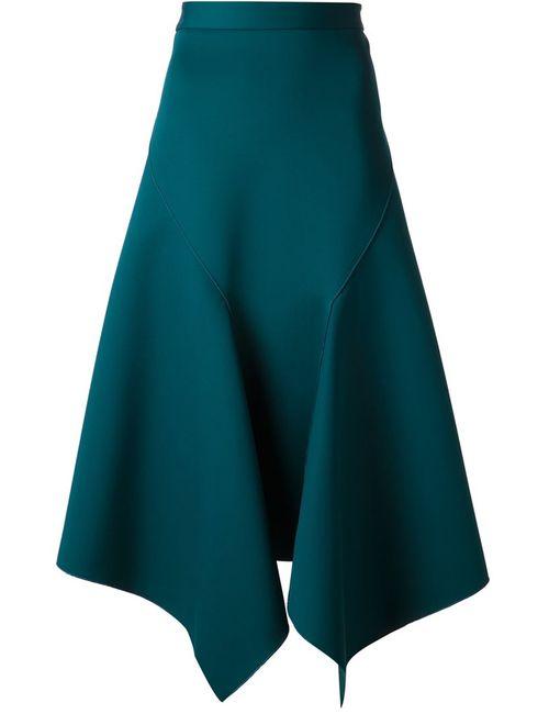 Dion Lee | Женская Зелёная Драпированная Юбка С Асимметричным Подолом
