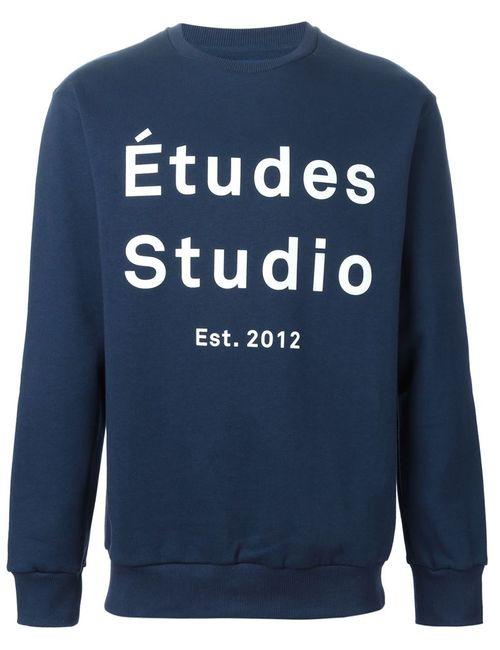 ETUDES | Мужская Синяя Толстовка С Принтом Логотипа