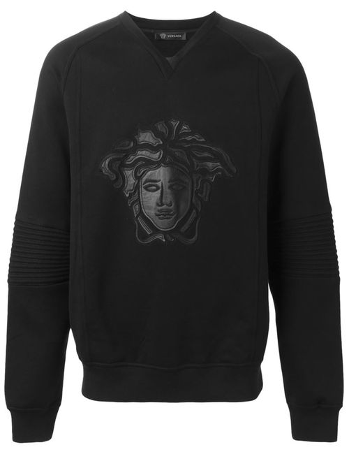 Versace | Мужская Чёрная Толстовка С Аппликацией Medusa