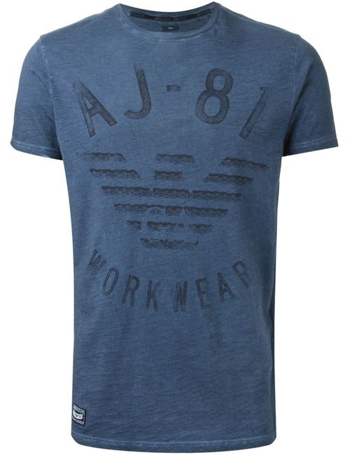 ARMANI JEANS | Мужская Синяя Футболка С Принтом Логотипа