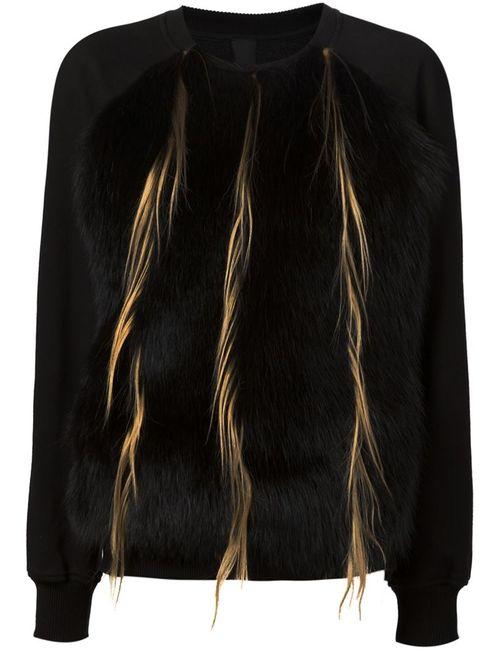 Vera Wang   Женское Черный Raccoon And Goat Fur Panel Sweatshirt
