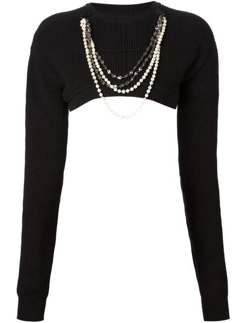 Vera Wang | Женское Чёрный Necklace Embellished Cropped Sweater