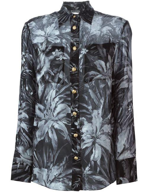 Balmain   Женская Чёрная Прозрачная Рубашка С Цветочным Принтом