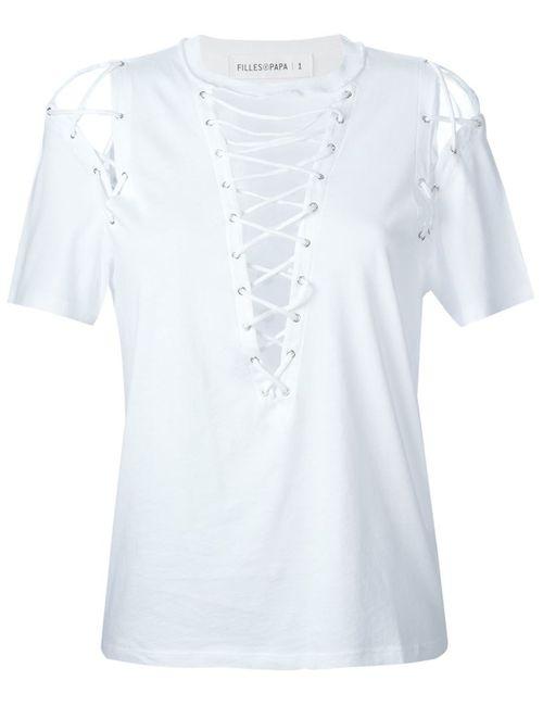 Filles A Papa | Женское Белый Lace-Up Detail T-Shirt