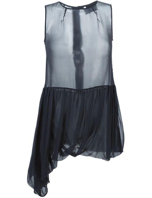 ERIKA CAVALLINI SEMICOUTURE | Женская Синяя Драпированная Прозрачная Блузка