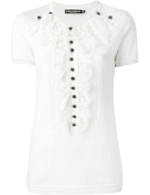 Dolce & Gabbana | Женское Белый Lace Bib T-Shirt
