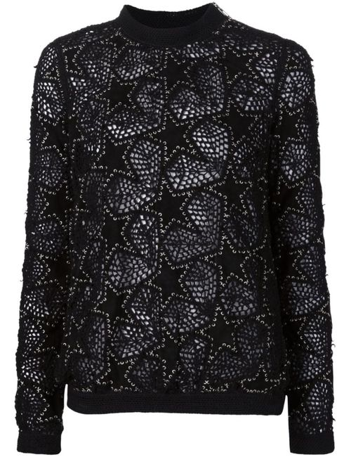 Anthony Vaccarello | Женское Чёрный Embroidered Star Patch Sweater