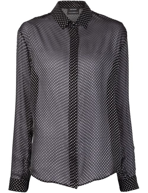 Anthony Vaccarello | Женское Черный Blurred Dot Print Sheer Shirt