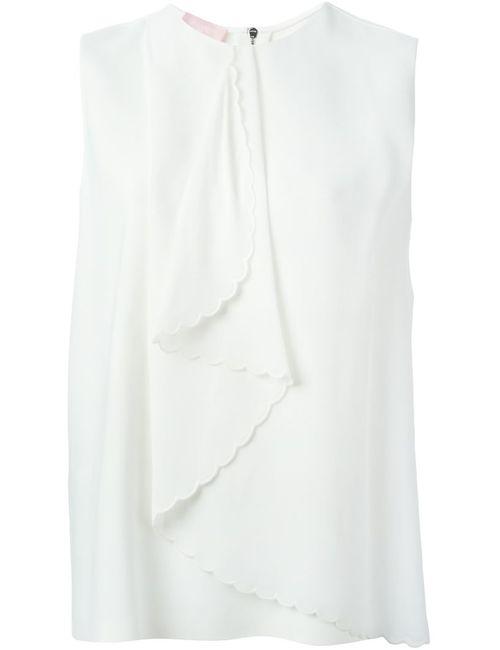 GIAMBA | Женское Белый Scalloped Ruffle Sleeveless Top