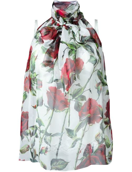 Dolce & Gabbana | Женская Белая Полупрозрачная Блузка С Цветочным Принтом
