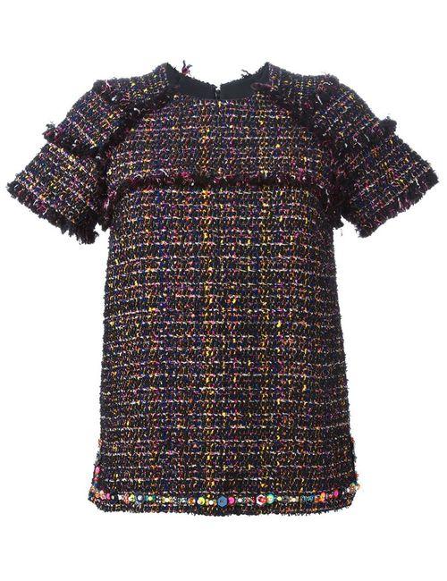 MSGM   Женское Чёрный Shortsleeved Tweed Top