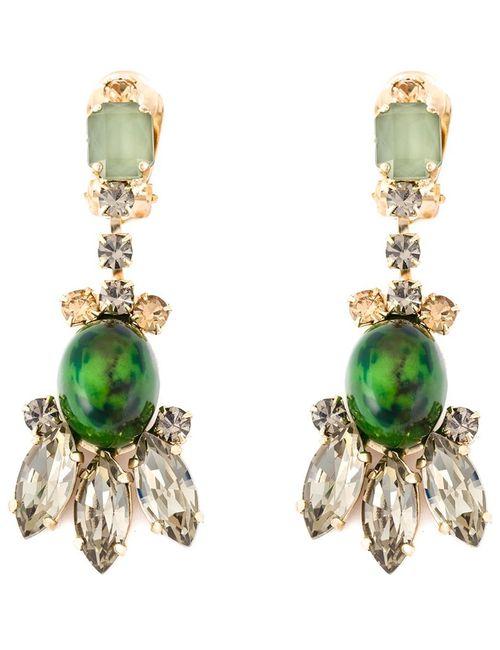 Marni   Женское Зелёный Embellished Clip-On Earrings