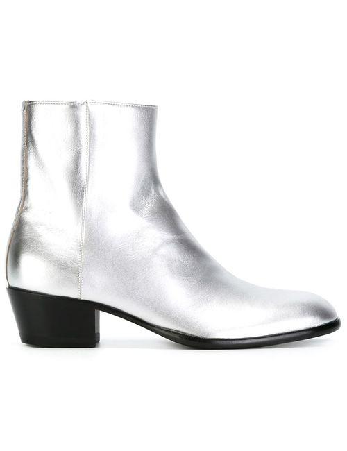 Maison Margiela | Женские Серые Ботинки По Щиколотку На Массивном Каблуке
