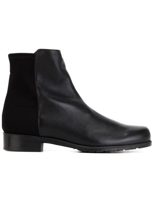 Stuart Weitzman   Женские Чёрные Ботинки По Щиколотку С Панельным Дизайном