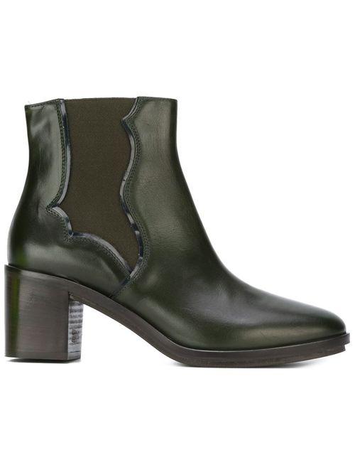 L' Autre Chose | Женские Зелёные Ботинки На Массивном Каблуке