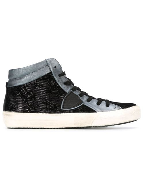 Philippe Model | Женское Чёрный Lace Panel Hi-Top Sneakers