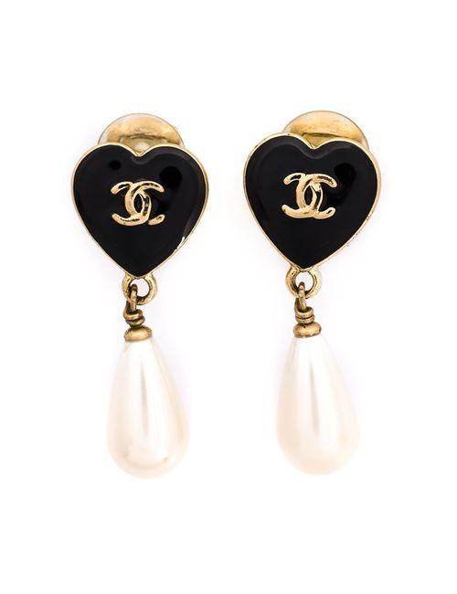 Chanel Vintage | Женские Чёрные Серьги В Форме Сердец