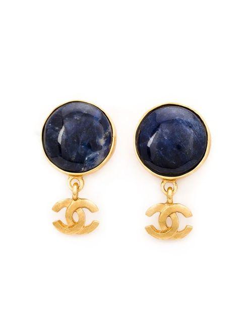 Chanel Vintage   Женские Синие Серьги С Подвеской-Логотипом