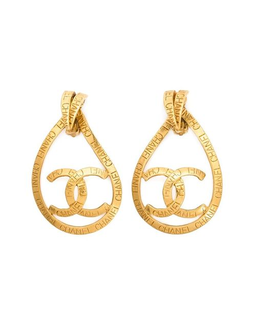 Chanel Vintage | Женское Желтый Teardrop Logo Clip-On Earrings