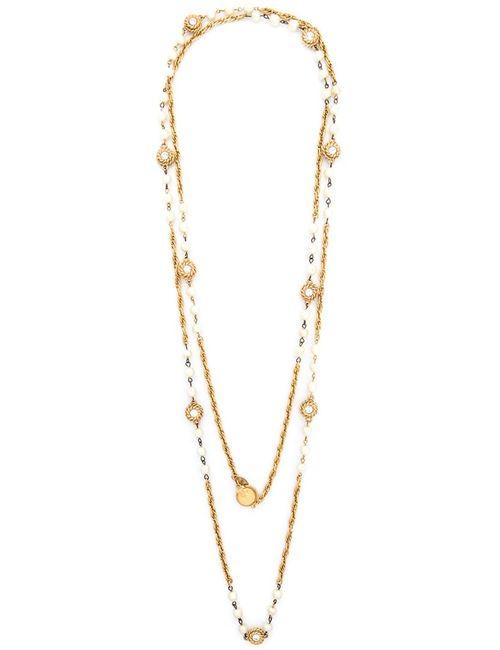 Chanel Vintage | Женское Жёлтое Декорированное Жемчугом Цепочное Колье