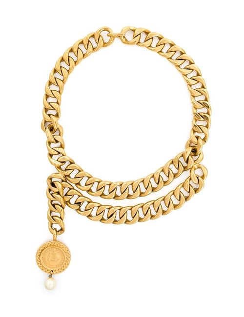 Chanel Vintage   Женское Серебристое Колье С Массивной Цепью