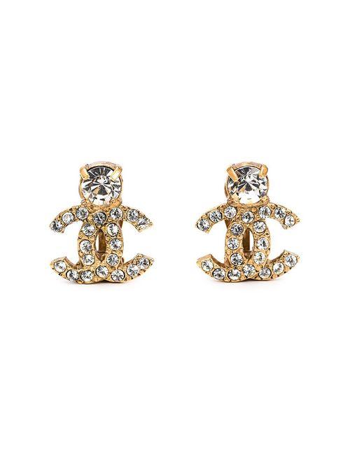 Chanel Vintage | Женское Желтый Rhinestone Embellished Logo Earrings
