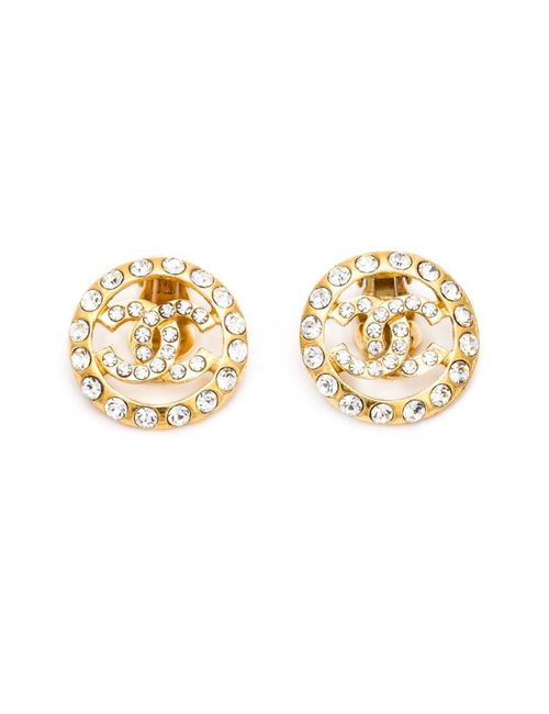 Chanel Vintage | Женское Metallic Rhinestone Embellished Logo Earrings