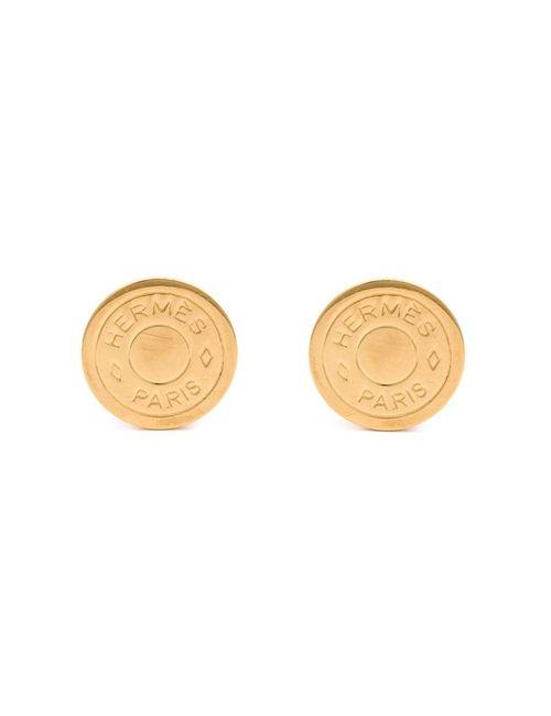 Hermès Vintage | Женское Metallic Logo Clip-On Earrings