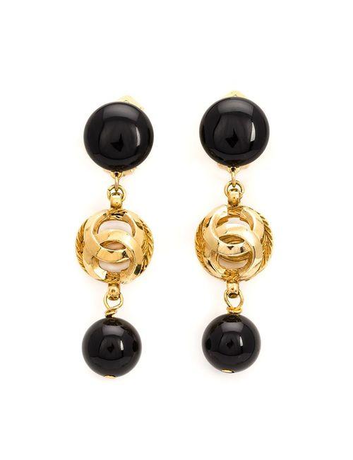 Chanel Vintage | Женские Чёрные Серьги С Подвеской С Логотипом