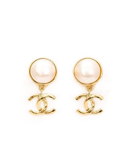 Chanel Vintage | Женские Белые Клипсы С Логотипом